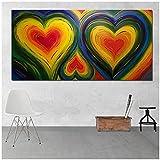 Obra de Arte para el hogar 50x120cm 1 Piezas sin Marco corazón Colorido Pared Arte Lienzo Pintura Cartel Imagen para Sala de Estar Moderna decoración del hogar