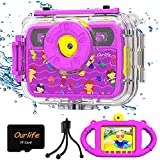 Ourlife Kids Waterproof Camera Gifts for Girls, 1080P HD Digital Video Camera with 2.4'' IPS Screen, Fill Lights, Children Selfie Underwater Camera Toy for Girls 6-15 with TF Card, Silicone Handle