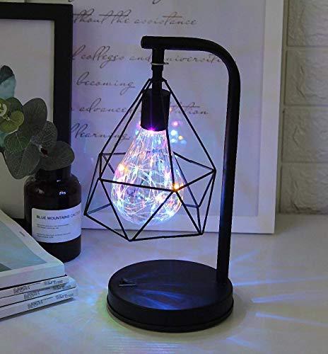 EONHUAYU diamantvorm tafellamp, Noordse stijl ijzeren draad tafellamp nachtlampje bedlampje batterijvoeding voor slaapkamer, woonkamer, bar, hotel