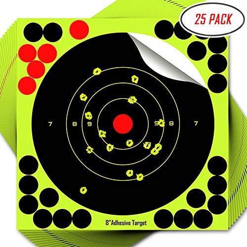 8 Inch Adhesive Reactive Shooting Targets Stick & Splatter 25 Pack TagBoard for Gun - Rifle - Pistol - Airsoft - BB Gun - Pellet Gun - Air Rifle