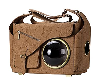 """CLOVERPET C0402 Innovative Fashion Bubble Pet Travel Carrier Backpack for Cats Dogs Puppy, Brown, 16.7"""" LX8.3 WX12.6 H"""