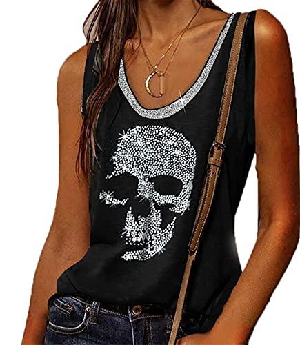 Camiseta sin Mangas de Calavera con Diamantes de imitación para Mujer, Camisetas...