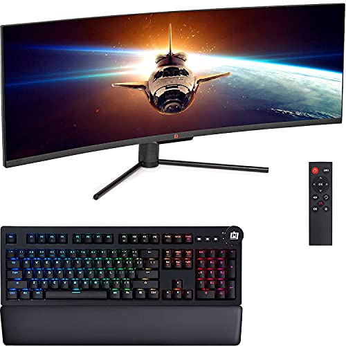 """Deco Gear 49"""" Curved Ultrawide E-LED Gaming Monitor, 32:9 Aspect Ratio, Immersive 3840x1080 Resolution, 144Hz, 3000:1 with Deco Gear Mechanical Gaming Keyboard with Cherry MX Red Switches, 104 Keys"""