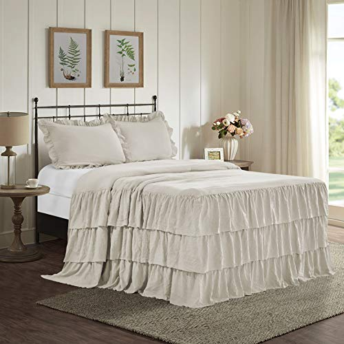 HIG 3 Piece Ruffle Skirt Bedspread Set King - Camel 30 inches Drop Ruffled Style Bed Skirt Coverlets Bedspreads Dust Ruffles- Bedding Collections King Size-1 Bedspread, 2 Standard Shams(Echo)