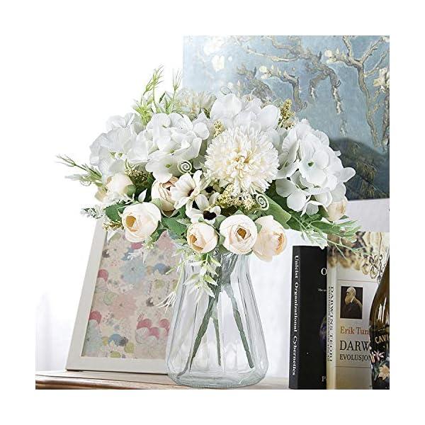 Krelymics Ramo artificial de 2 piezas de peonías falsas rosas hortensias claveles flores artificiales arreglos para ramo…