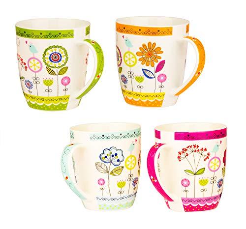 BigDean 4er Set Große Kaffeetassen 350ml schöne Bunte Blumen-Tasse je in blau, grün, orange & lila - mit Henkel - aus Porzellan