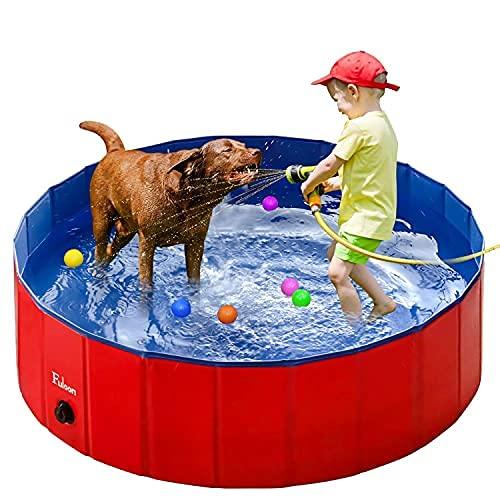 Fuloon Hundepool mit Ablassventil, Faltbarer Hunde Pool Katzenpool Swimmingpool Planschbecken Schwimmbad Hundebadewanne PVC-rutschfest, Verschleißfest (100 * 100 * 30cm, Rot blau)