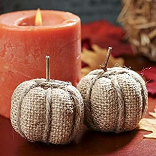 Factory Direct Craft Package of 12 Small Burlap Fabric Pumpkins for Halloween, Fall and Thanksgiving Decorating