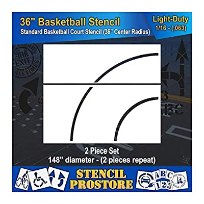 """Athletic Marking Stencils - 36 inch Basketball Court Stencil Set - 36"""" and 72"""" Repeating Pieces - (2 Piece)"""