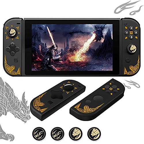 Funda Joy-con con 4 Tapa de Pulgar para Nintendo Switch, Funda Protectora con Monster Hunter Rise, Anti-Deslizante Silicona Joy-con e Pulgares Paquete Funda con Golden Dragón Fuego Patrón para
