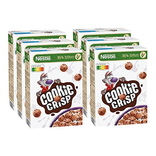 Nestlé Cookie Crisp, Cerealien mit Vollkorn in Keksform als Kinderfrühstück, 6er Pack (6 x 375g)