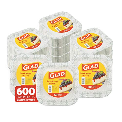 Glad Disposable Paper Plates with Gray Victorian Design, 7 Inches   Square Paper Plates for Everyday Use   Soak Proof and Cut Proof Microwavable Paper Plates, Paper Plates Bulk 600 Count