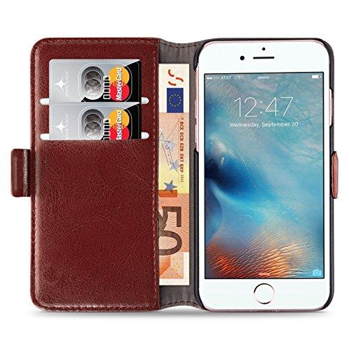 Cover iPhone 8 Plus Cover iPhone 7 Plus, JAMMYLIZARD [Luxury Wallet] Custodia a Libro Portafogli in Pelle per Apple iPhone 8 Plus e Apple iPhone 7 Plus, MARRONE