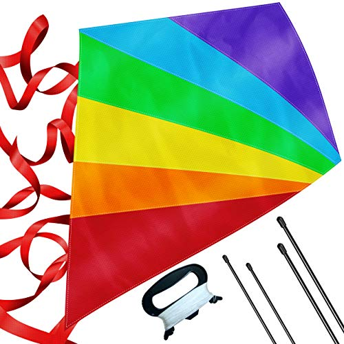 Large Diamond Kite for Kids - Lightweight, Easy to Assemble and Fly, Soars High in Low Wind Speeds - A Great Way to Enjoy and Spend Time with Friends and Family, Easy Flyer Kite for Boys and Girls