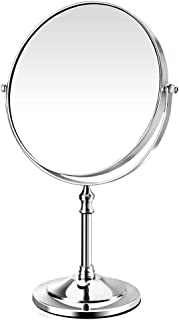 Vanity Mirror Desktop Makeup Mirror 360 Degree Free Rotation Bracket Stainless Steel HD Double-Sided Magnification for Family Dressing Room