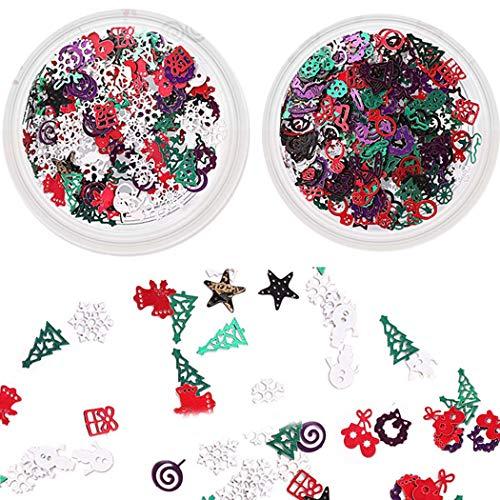 Sethexy 3D Navidad Accesorios para uñas Vistoso Metal Tachuelas Bricolaje Lentejuelas Brillantina Aleación para...