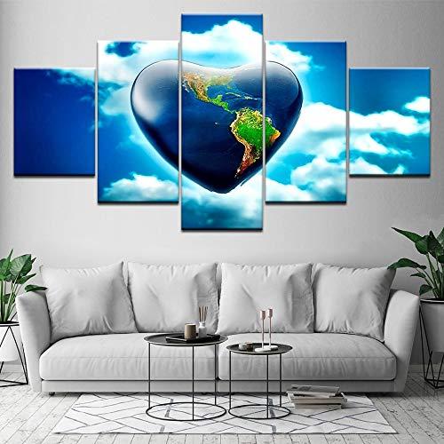 hllhpc (No Frame) HD-druk, canvasfoto, wanddecoratie, 5 panelen in hartvorm, kunst voor de woonkamer (30x40 30x60)
