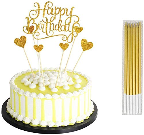 Homo Trends 13Pcs Cake Decorations, 7Pcs Happy Birthday Cake Topper Heart Shaped Personalised Cake Toppers and 6 Pcs Birthday Candles Cupcake Decorations (Silver or Gold) (Glod)