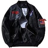 NASAロゴフライトボンバージャケットメンズレディースロングスリーブスウェットシャツジョイントMA-1フライトウインドブレーカー防風防水コート Hbche (Color : Black, Size : XL)