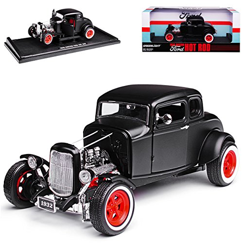Greenlight Ford Hot Rod Matt Schwarz 1932 1/18 Modell Auto