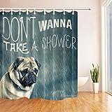 JYEJYRTEJ Mops Dekorativer Duschvorhang kann gewaschen & getrocknet Werden,10Haken,120X180cm,geeignet für Badezimmer im Regen