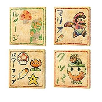 Super Mario Bros 8 Bit Japanese Canvas Wall Art Bundle  set of 4 6x6 inch  Luigi Mario Bowser Power Ups