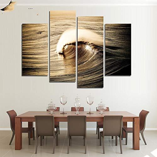 ANTAIBM® 4 Dekorative Malerei Wohnzimmer Fresko Holzrahmen - verschiedene Größen - verschiedene Stile4-teilige Malerei Druck Sea Waves Eye Canvas Malerei für Wohnzimmer Wandkunst oder modulares Bild