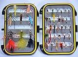 OutdoorPlanet - Mosquitera impermeable + Mosca húmeda, Ninfa, Mosca seca y Streamer para moscas de pesca con mosca, paquete de 40