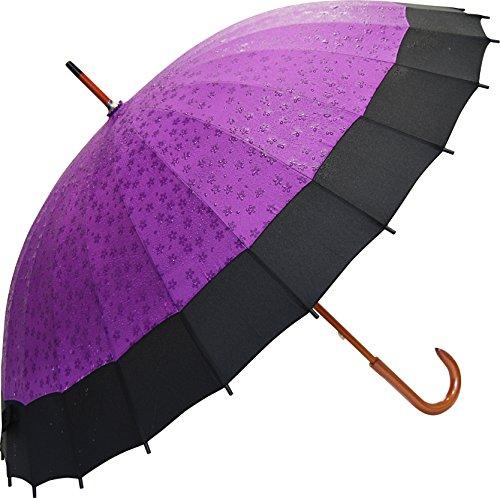京美咲 桜が浮き出る蛇の目傘 紫 JK-20紫