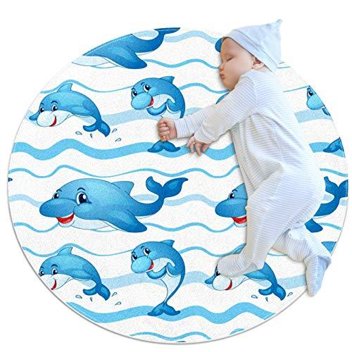 Alfombra Redonda Delfín Azul Alfombra Redonda decoración Arte Antideslizante niños Lavables a máquin Suave Sala Estar Dormitorio de Juegos para 70x70cm