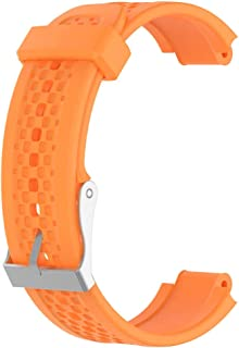 F Fityle Watch Band, Soft Silicone Watch Strap Replacement Buckle Wristband Watch Band Wrist Strap with Operating Tool for Garmin Forerunner 25 - Orange