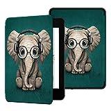 Ayotu Funda de Que Protege del Agua para Kindle Paperwhite (10.ª generación - Modelo de 2018)-Funda Inteligente de Cuero de PU con activación/suspensión automática K10 The Elephant