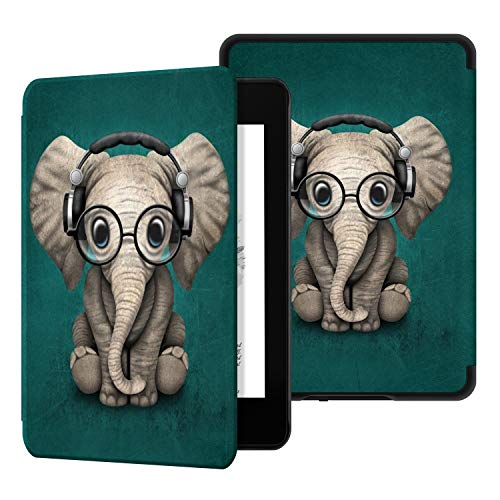 Ayotu Custodia in Pelle per Kindle Paperwhite 2018 - Case Cover Custodia Amazon Nuovo Kindle Paperwhite (10ª Generazione - Modello 2018),K10 The Elephant