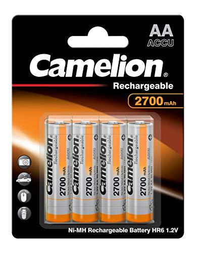 Camelion 17027406 - Ni-MH Rechargable Batterien AA / HR6, 4 Stück, Kapazität 2700 mAh, wiederaufladbar, leistungsstarke Einwegbatterien für elektronische Geräte zur optimalen Energieversorgung