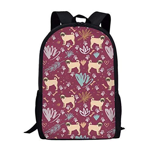 CODOYO Backpack,Playful Pug Dog Floarl Vintage Bookbag for Women and Men Lightweight School Bookbag College School Backpack for Men and WomenStylish and Durable