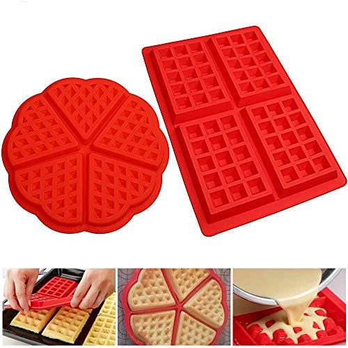 Lot de 4 moules à gaufres en silicone, 2 styles ronds et carrés, moules à muffins, moules de cuisson antiadhésifs en forme de mini cœur (rouge)