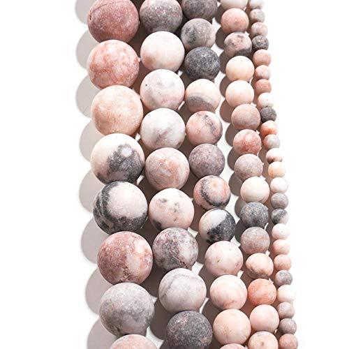 ALENAOO 1Strand / Los 4/6/8/10/12mm Naturstein Stumpfer Lack Mattrosa Zebra Jaspis Perlen Für DIY Armband Schmuckherstellung Zubehör, Rosa Zebra Perle, 8mm