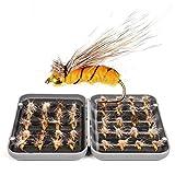 JasCherry Moscas de Pesca Moscas Artificiales Señuelos de Pesca con Mosca con Caja Impermeable, Pesca de Perca Trucha Bacalao Accesorios de Pesca