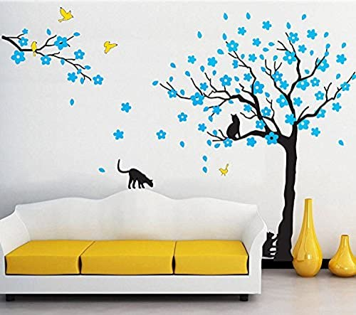 Amazon Com Amaonm 67 X98 Giant Removable Vinyl Black Tree Blue Flowers Yellow Birds Black Cat Wall Decals Stickers Murals Home Decor For Kids Nursery Living Room Bedroom Tv Background Walls