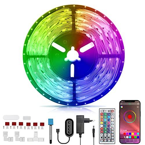 RGB LED Strip 6M, LED Streifen Wasserdicht mit Verbinder, Timer-Einstellung, Musik Sync, APP Steuerung LED Leiste mit Aktualisiert Steuerbox, Led Band für Schlafzimmer, Zimmer, TV