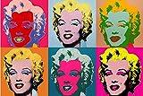 Pintar por numeros Adultos Andy Warhol – Marilyn Monroe – Cuadros para Pintar por números con Pinceles y Colores Brillantes – Lienzos para Pintar con Dibujo – Sin Marco