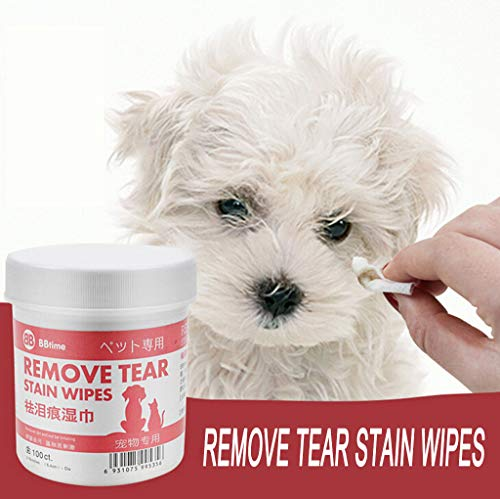 Tear Stain Remover Pads for White Dogs and Cats Pet Soft Grooming Wipes 100 Pads | Pet Cat Dog Tears Remove Artifact,Eye Cleaning Pet Wet Paper Towel,Suit for Eyes, Ears and Teeth (Red-100pcs)