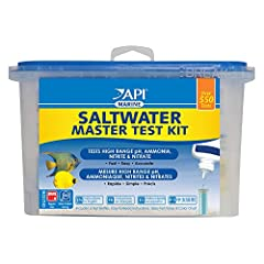 Contains one (1) API SALTWATER MASTER TEST KIT 550-Test Saltwater Aquarium Water Test Kit, including 6 bottles of testing solution, 1 color card and 4 glass test tubes with cap Measures levels of high range pH, ammonia, nitrite and nitrate Helps moni...