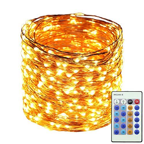 ErChen Strombetrieben LED Lichterkette, 50M 165 FT 500 LEDs-Plug in Dimmbare Kupfer Draht-Lichterketten mit 12V DC Adapter Fernbedienung für Weihnachten (Warmweiß)
