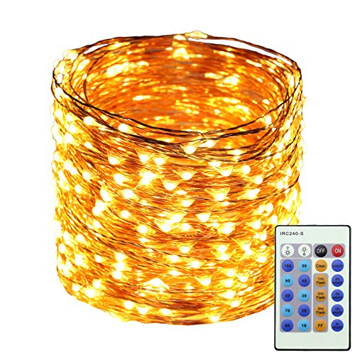 Erchen LED String Lights, 165 FT 50M 500 LED Plug in Dimmable Copper Wire Fairy Lights with 12V DC Power Adapter Remote Control for Wedding Christmas Party Bedroom (Warm White)