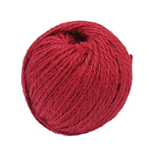 Pinzhi - Corde de Chanvre Rouge 50 M x 1.5mm pour Art Floral Emballage de Mariage Partie Bricolage Fabrication Artisanale, Bleu/ Rose/ Rouge/ Vert