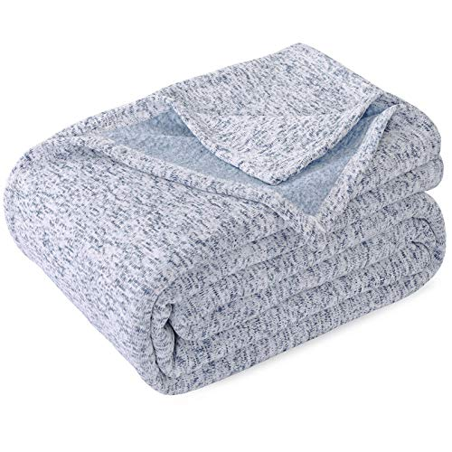 KAWAHOME Knit Blanket Lightweight Breathable Fuzzy Heather Jersey Thin Blanket for Couch Sofa Bed Queen Size 90 X 90 Inches Blue and White