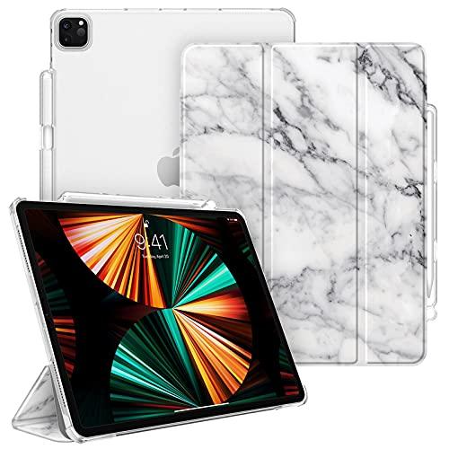 Fintie Hülle Kompatibel mit iPad Pro 12.9 2021 (5. Generation) / iPad Pro 12.9 2020/2018 - Superdünn Schutzhülle mit Transparenter Rückseite Abdeckung & Stifthalter, Marmor Weiß