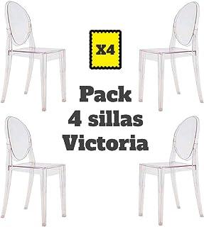 Mobiliario Factory Sillas Victoria Ghost Transparente Pack 4