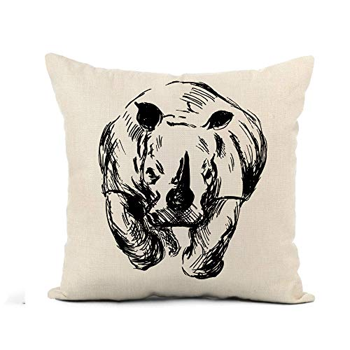 Eshanqulon Flax Throw Pillow Cover African Hand Sketch Of The Running Rhino Africa Animal 18x18 Inches Pillowcase Home Decor Square Cotton Linen Pillow Case Cushion Cover 18' X 18'(IN)